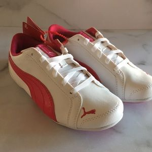 PUMA little girls pink white sneakers shoes sz 13